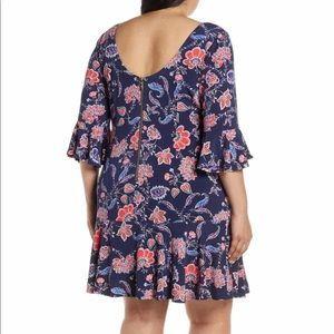 NWT Elisa J Floral Bell Sleeve Blue Dress 18W